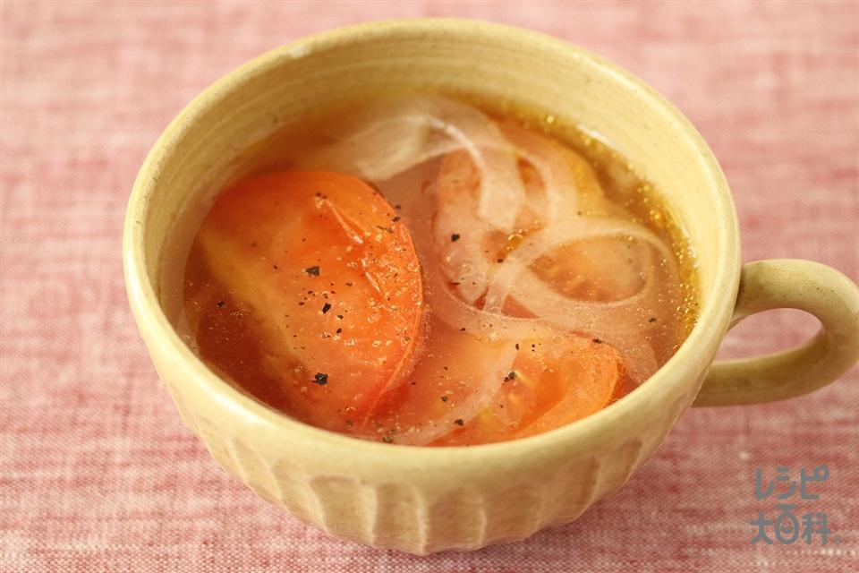 レンチントマトの中華スープ(トマト+玉ねぎを使ったレシピ)