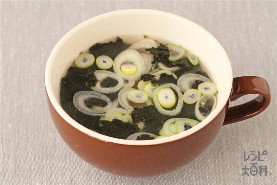 ねぎとのりの中華風スープ(長ねぎ+焼きのりを使ったレシピ)