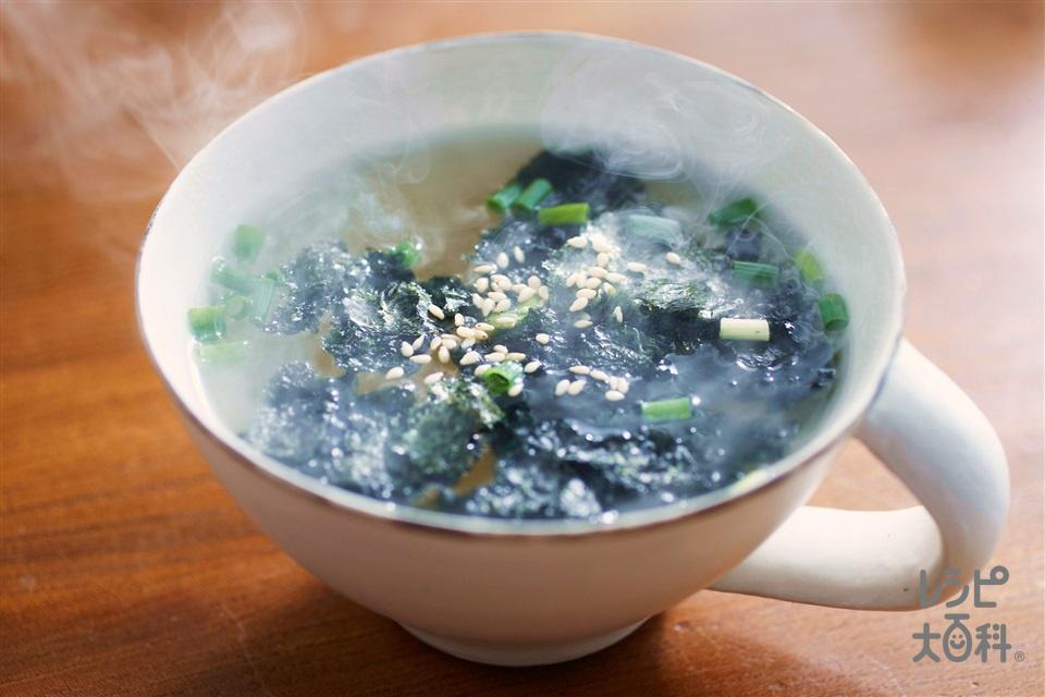 丸鶏海苔スープ(味つけのり+「丸鶏がらスープ」を使ったレシピ)