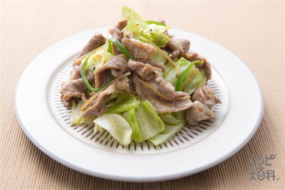 豚こまと野菜の炒め物(キャベツ+ピーマンを使ったレシピ)