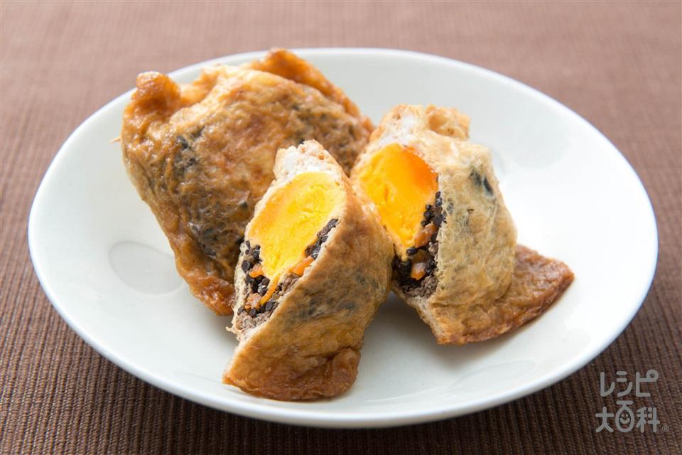 ひじき煮入り巾着のさっと煮(油揚げ+卵を使ったレシピ)
