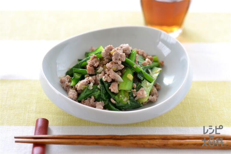 小松菜とひき肉のガーリック炒め