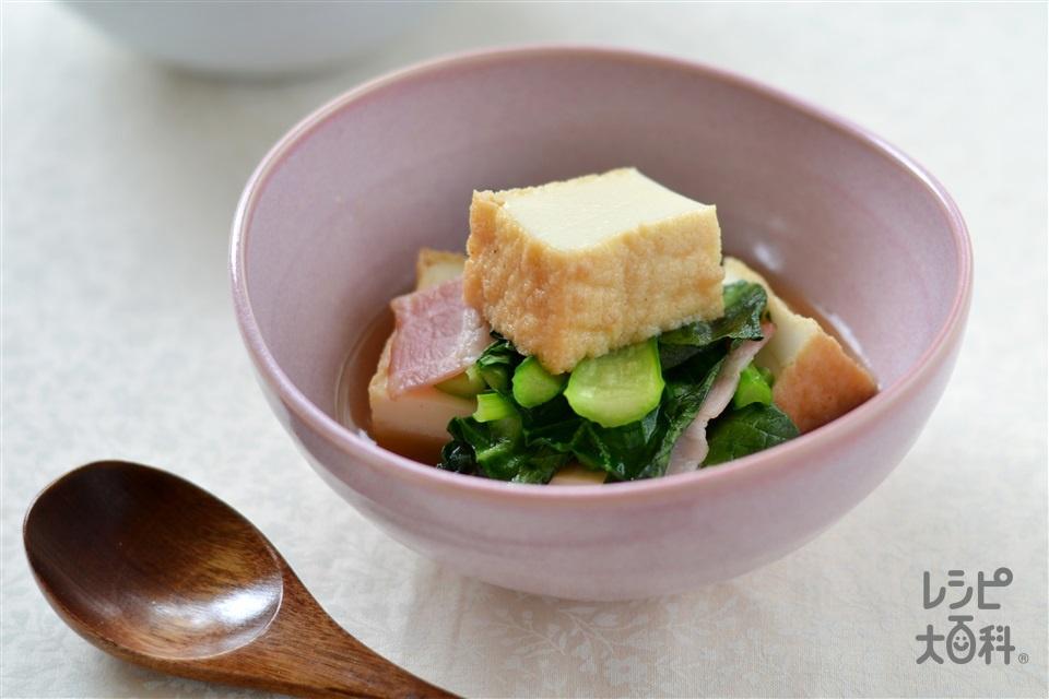 小松菜と厚揚げの炒め煮(厚揚げ+小松菜を使ったレシピ)