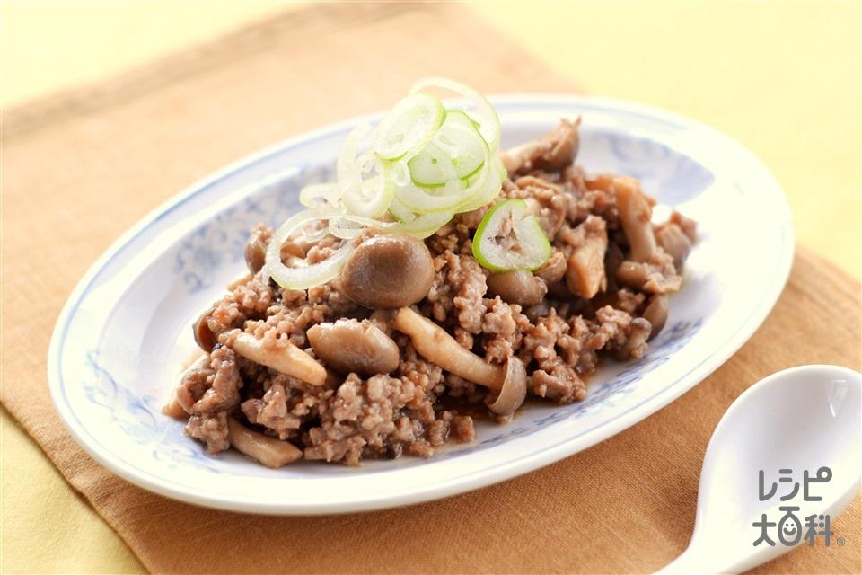 ひき肉ときのこのオイスターソース炒め(豚ひき肉+しめじを使ったレシピ)