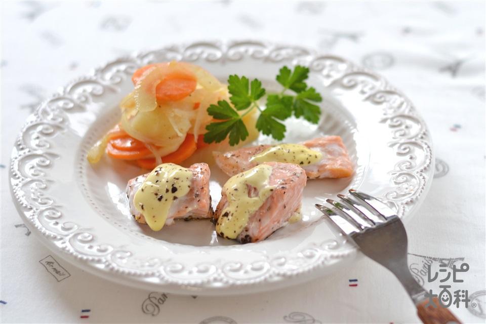 鮭のペッパーマヨネーズ焼き(生ざけ+じゃがいもを使ったレシピ)