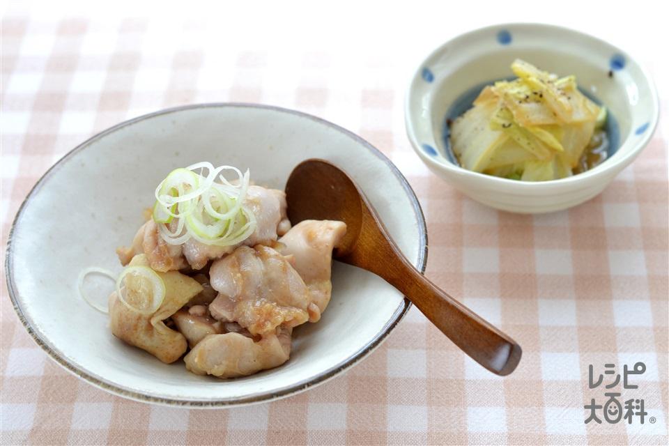 鶏肉の香りバター蒸し白菜添え(鶏もも肉+白菜を使ったレシピ)