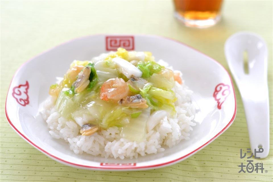 白菜と海鮮の中華丼(白菜+シーフードミックスを使ったレシピ)