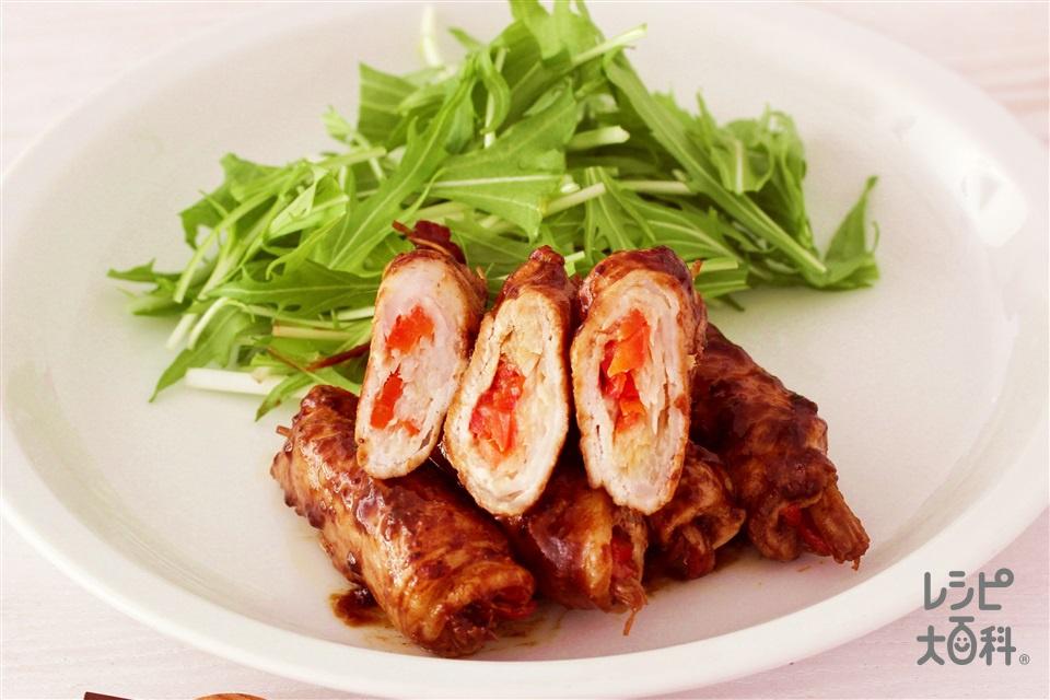 豚肉のねぎ巻き(豚ロース薄切り肉+パプリカ(赤)を使ったレシピ)
