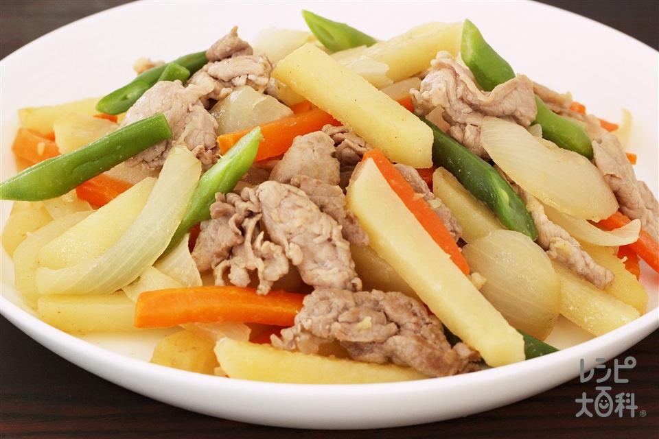 豚肉と根菜の香味炒め(豚もも薄切り肉+じゃがいもを使ったレシピ)