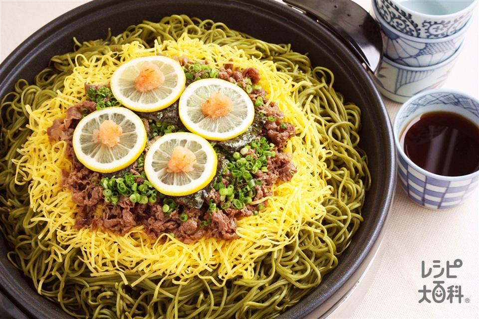 瓦そば~ホットプレート焼き~(茶そば+牛薄切り肉を使ったレシピ)