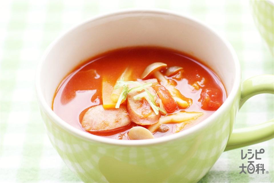 お鍋の残り野菜で!簡単トマトコンソメスープ(白菜+カットトマト缶を使ったレシピ)