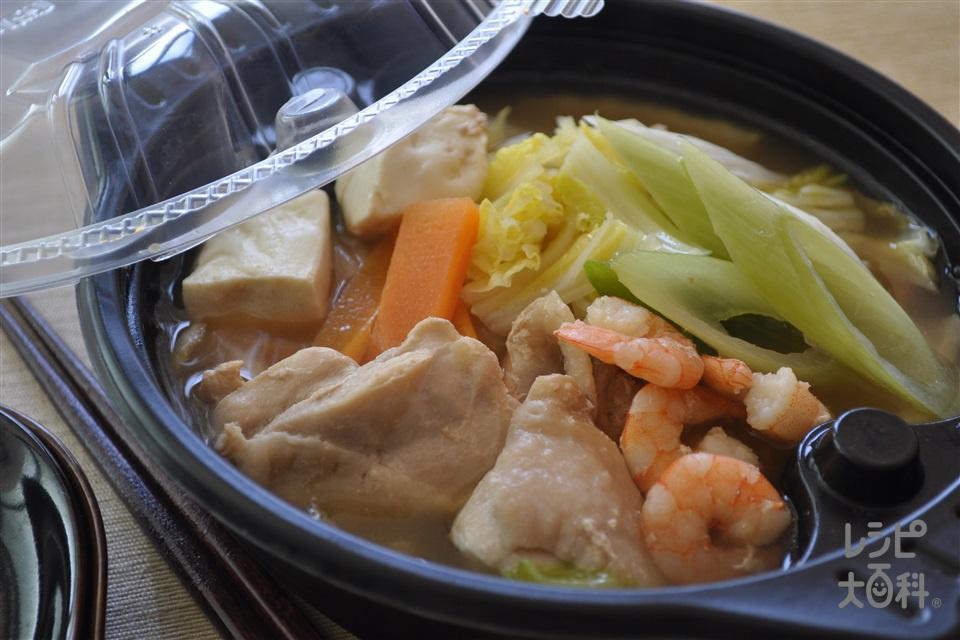 電子レンジで1人分 ダブルだし寄せ鍋(鶏もも肉+白菜を使ったレシピ)