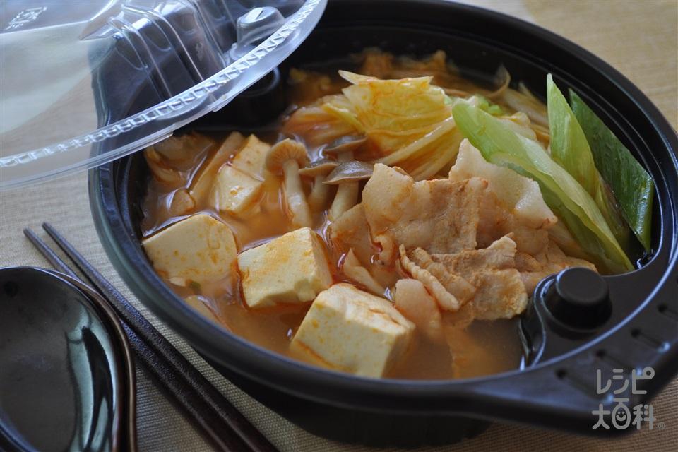 電子レンジで1人分 ピリ辛キムチ鍋(豚バラ薄切り肉+白菜を使ったレシピ)