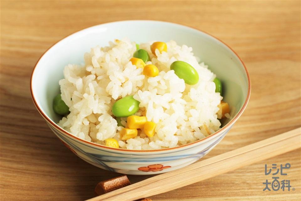 とうもろこしご飯(米+ホールコーン缶を使ったレシピ)