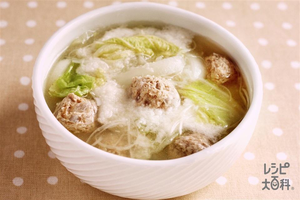 白ねぎとねばりっこの肉団子スープ(豚ひき肉+白菜を使ったレシピ)
