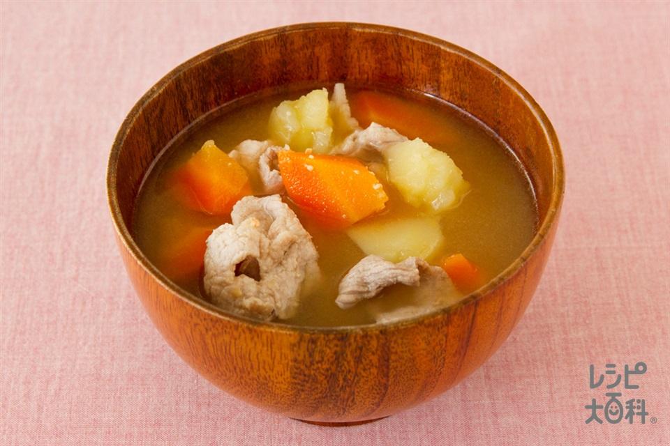 豚肉とじゃがいもの簡単おみそ汁(豚もも薄切り肉+じゃがいもを使ったレシピ)