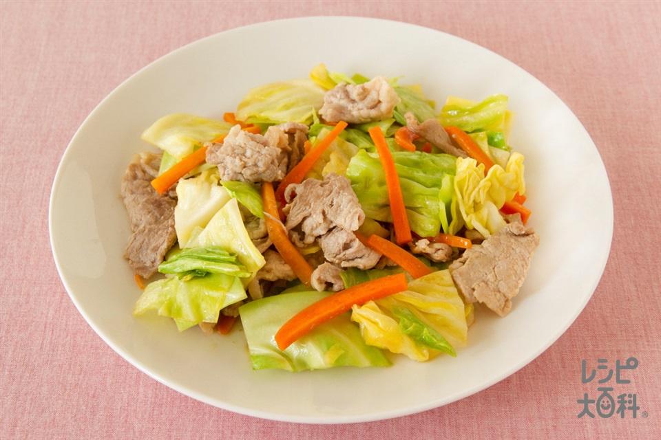 豚肉とキャベツの簡単和風炒め(豚もも薄切り肉+キャベツを使ったレシピ)
