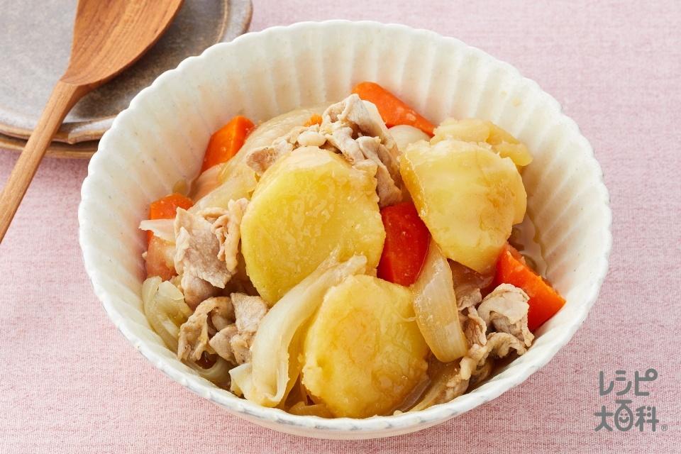 簡単肉じゃが(豚もも薄切り肉+じゃがいもを使ったレシピ)