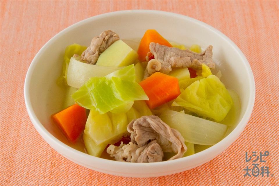 たっぷり野菜の簡単コンソメ煮(豚もも薄切り肉+じゃがいもを使ったレシピ)