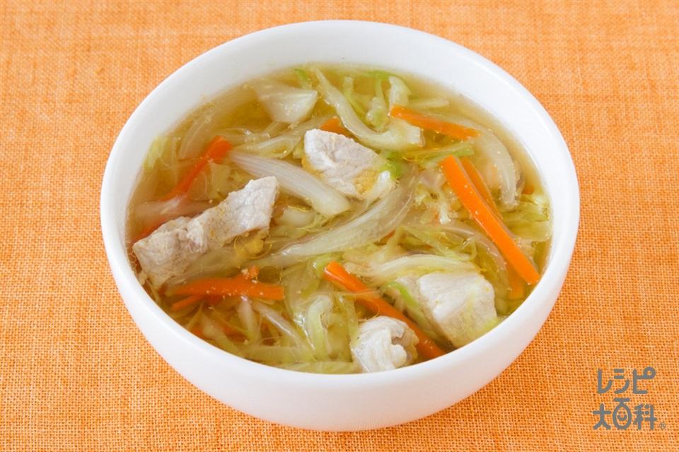 豚肉とせん切り野菜の簡単中華風スープ  (豚もも薄切り肉+キャベツを使ったレシピ)