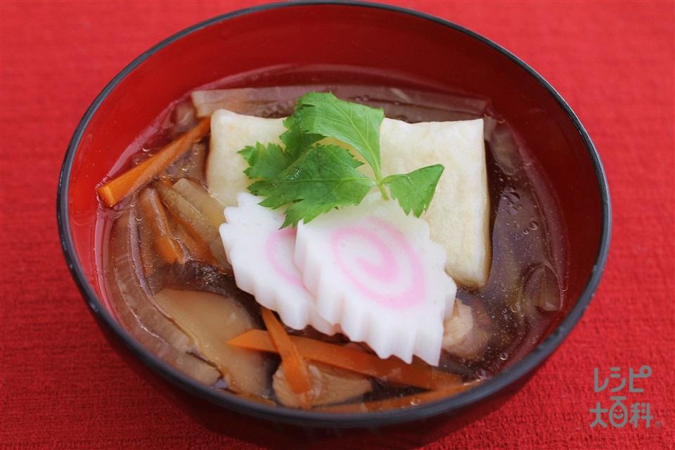福島風雑煮(切り餅+鶏ももこま切れ肉を使ったレシピ)