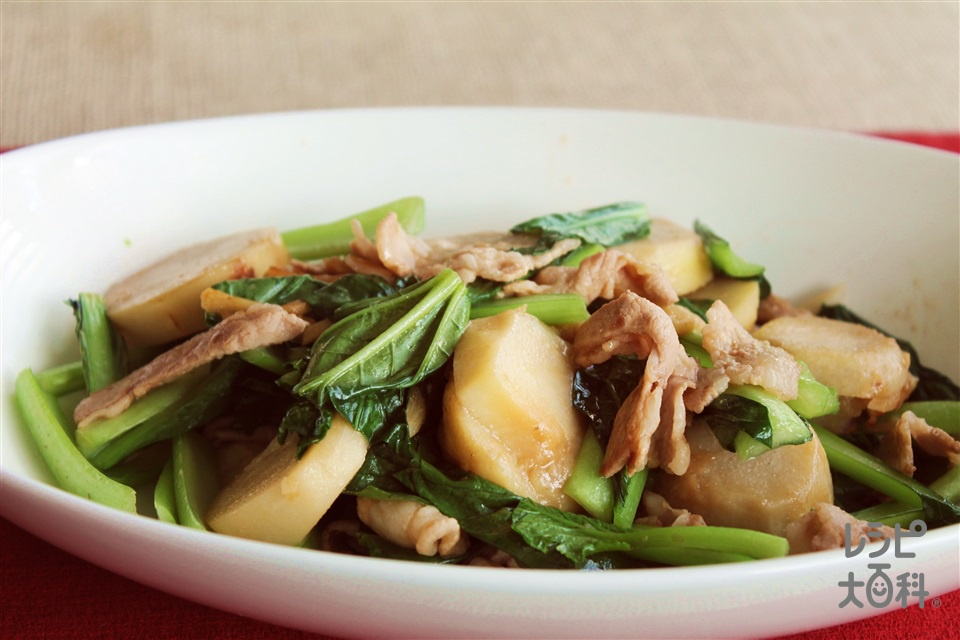 里芋・豚肉・小松菜のにんにく炒め(里いも+小松菜を使ったレシピ)