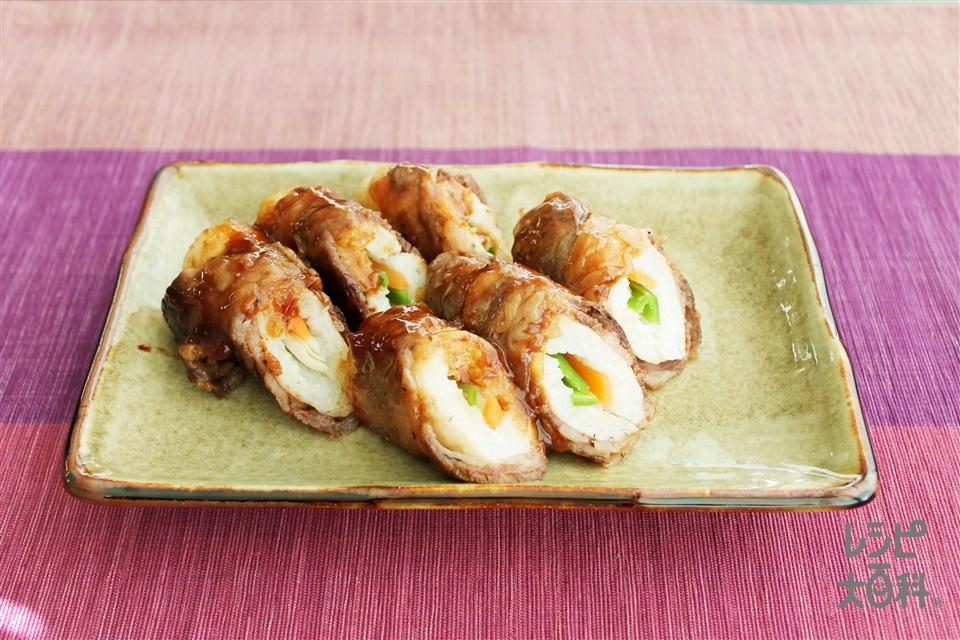 肉巻きりたんぽ(にくまきりたんぽ)(きりたんぽ+牛もも薄切り肉を使ったレシピ)