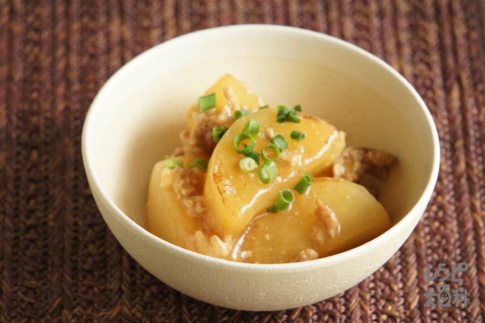 鶏ひき肉と焼き大根の「ほんだし」味噌炒め煮