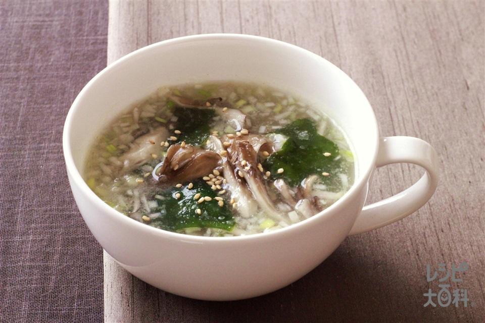まいたけとわかめのスープ(まいたけ+ねぎのみじん切りを使ったレシピ)