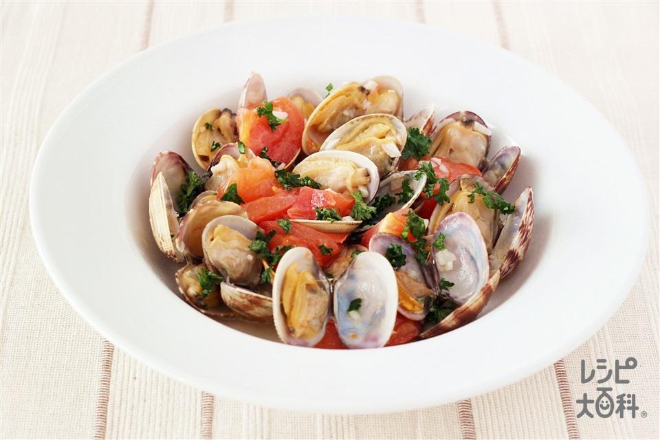 あさりとトマトのにんにく蒸し(あさり(殻つき)+トマトを使ったレシピ)