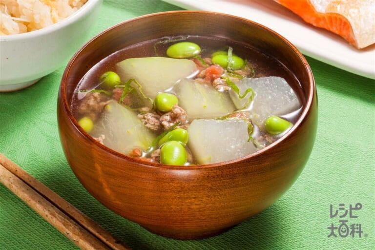 冬瓜と枝豆のうま塩豚汁
