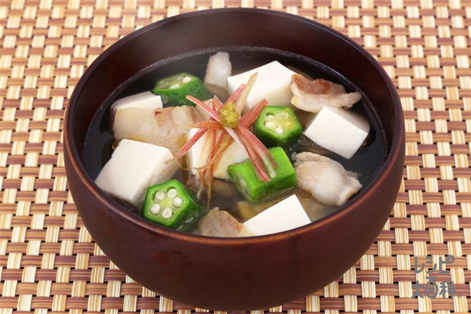 豆腐とオクラのうま塩豚汁(豚バラ薄切り肉+木綿豆腐を使ったレシピ)