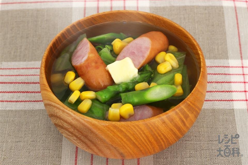 とうもろこしとアスパラのうま塩豚汁(ウインナーソーセージ+ホールコーン缶を使ったレシピ)