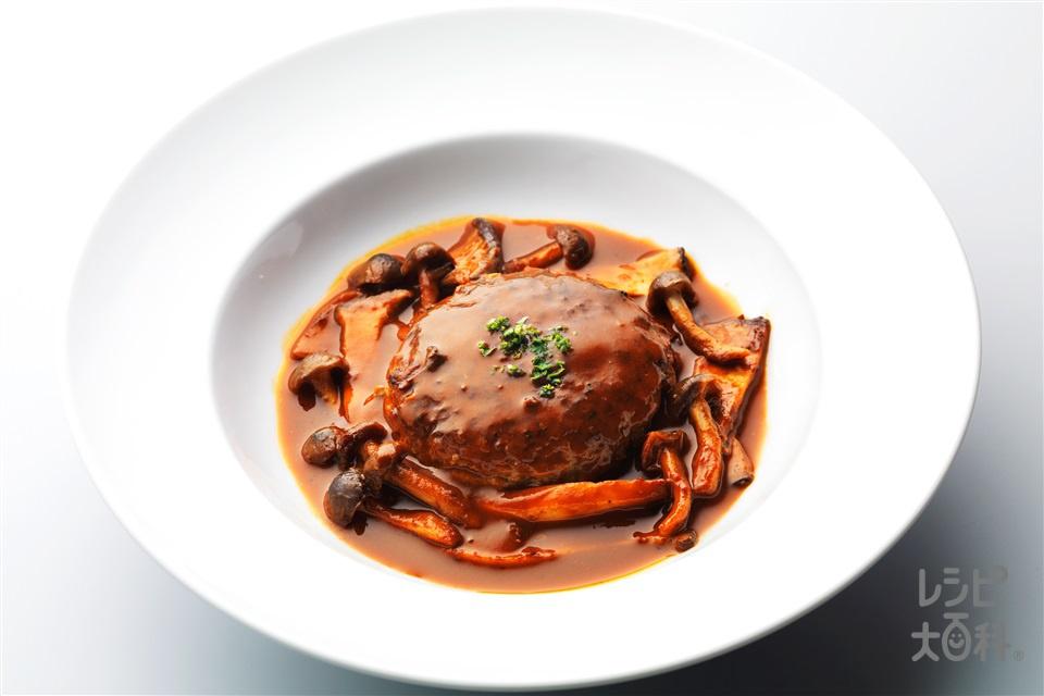 みそ煮込みハンバーグ(合いびき肉+玉ねぎを使ったレシピ)