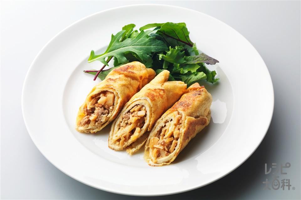 油揚げの春巻き(油揚げ+豚ひき肉を使ったレシピ)