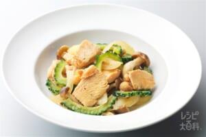 鶏肉とゴーヤのごま味噌炒め