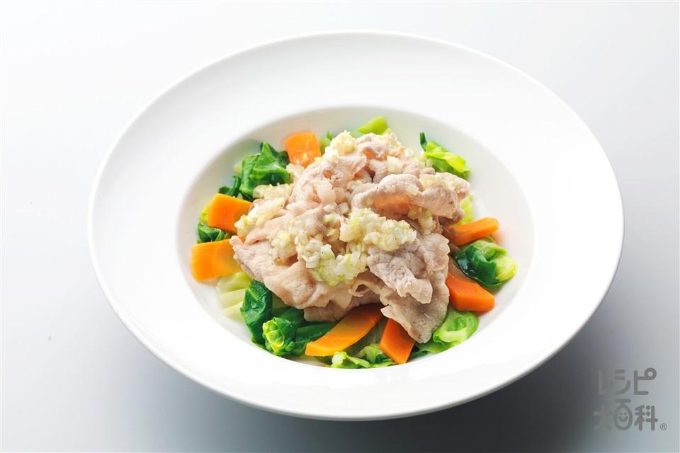 豚しゃぶのねぎ塩ダレ(豚しゃぶしゃぶ用肉+キャベツを使ったレシピ)