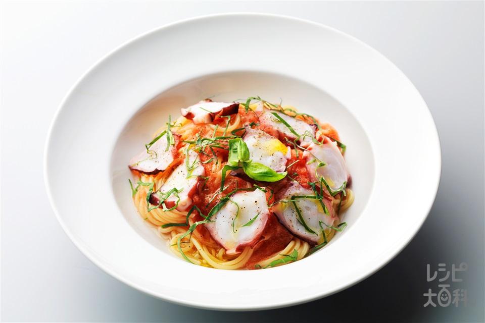 たこのガスパチョ風パスタ(スパゲッティ+トマトを使ったレシピ)