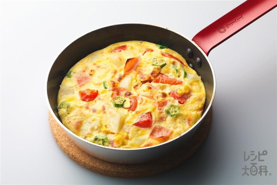 フリッタータ(イタリアンオムレツ)(溶き卵+牛乳を使ったレシピ)