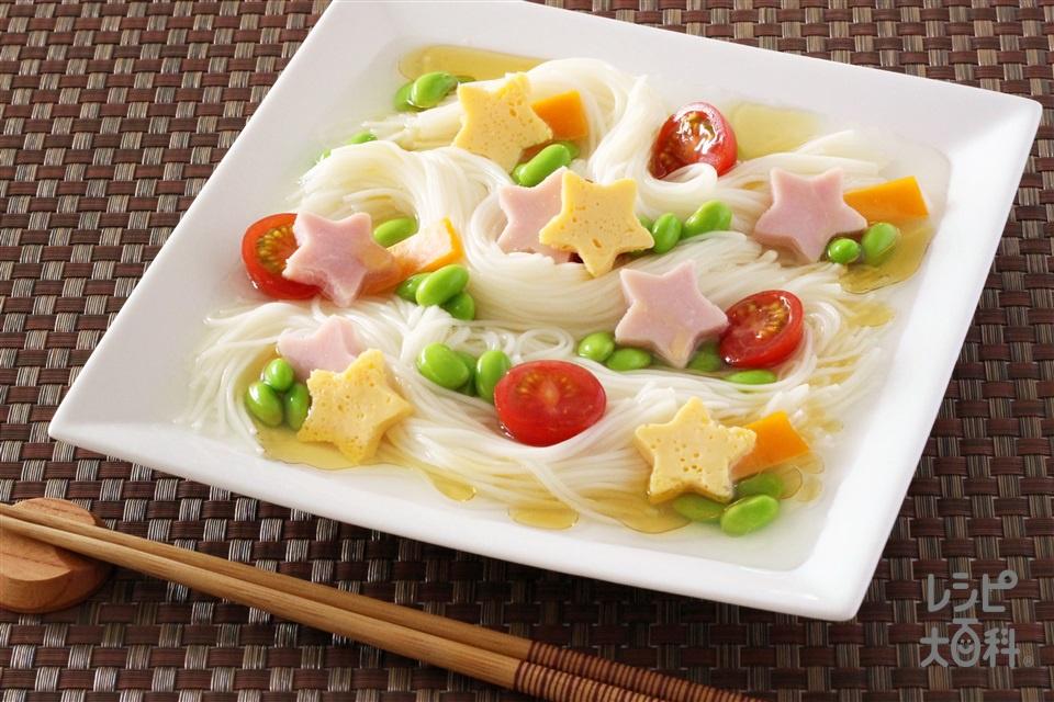 七夕鶏がらだしそうめん(そうめん+A水を使ったレシピ)