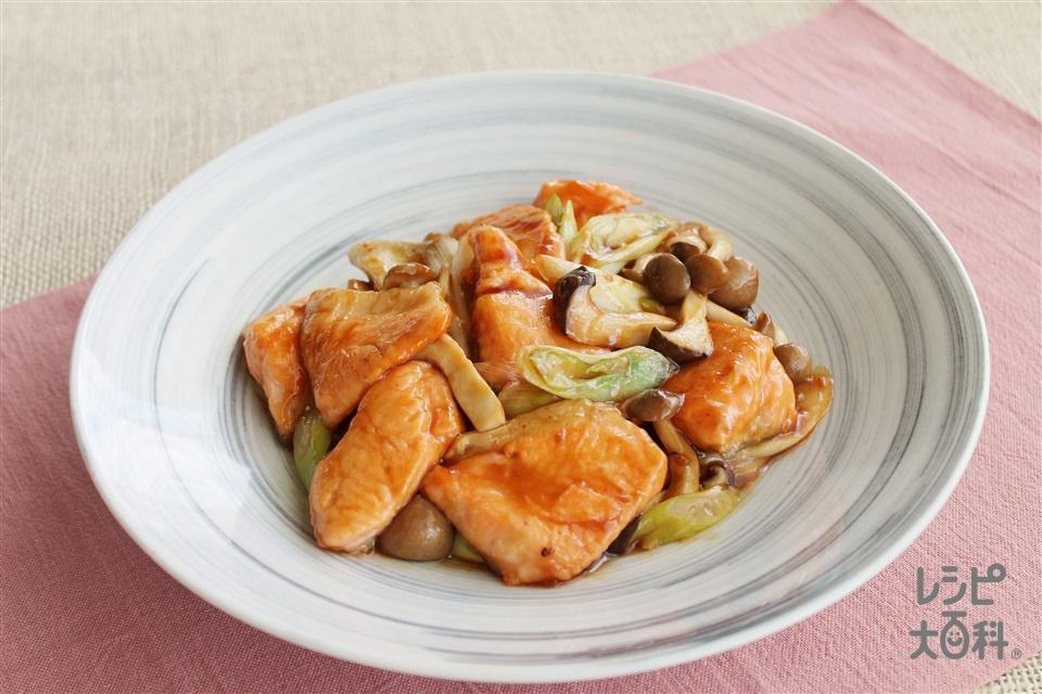 銀鮭のガーリックバター炒め(銀ざけ+片栗粉を使ったレシピ)
