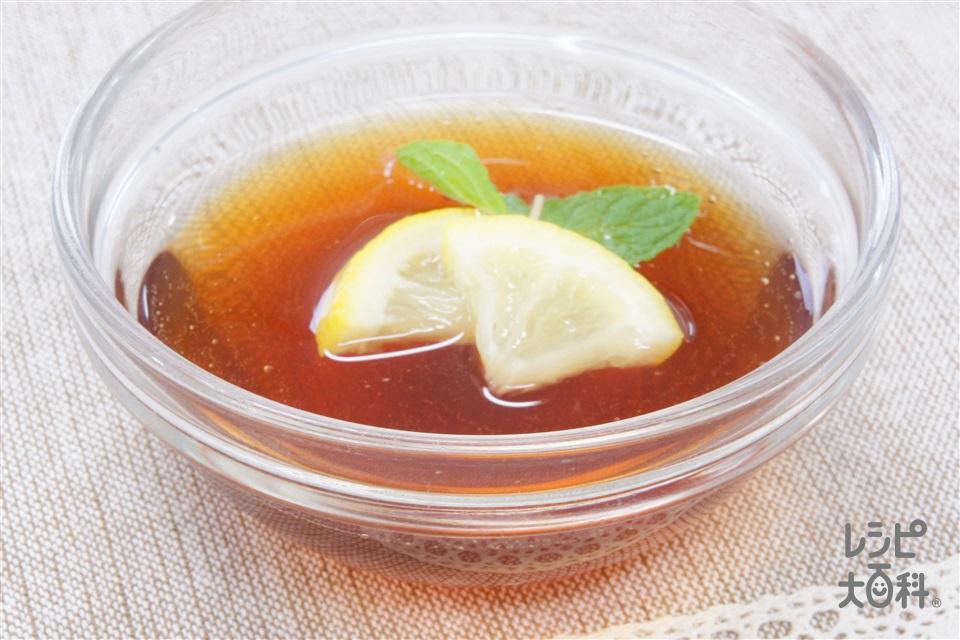 紅茶ゼリー(粉ゼラチン+レモンの輪切りを使ったレシピ)