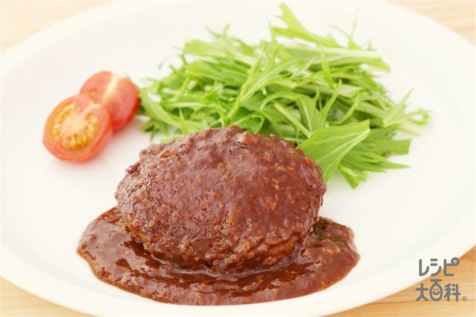 甘から味噌の煮込みハンバーグ(牛ひき肉+玉ねぎのみじん切りを使ったレシピ)