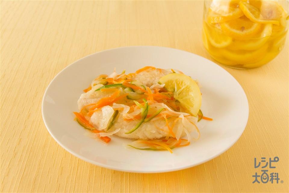 ささみの塩レモンマリネ(鶏ささ身+塩レモン(輪切り)を使ったレシピ)