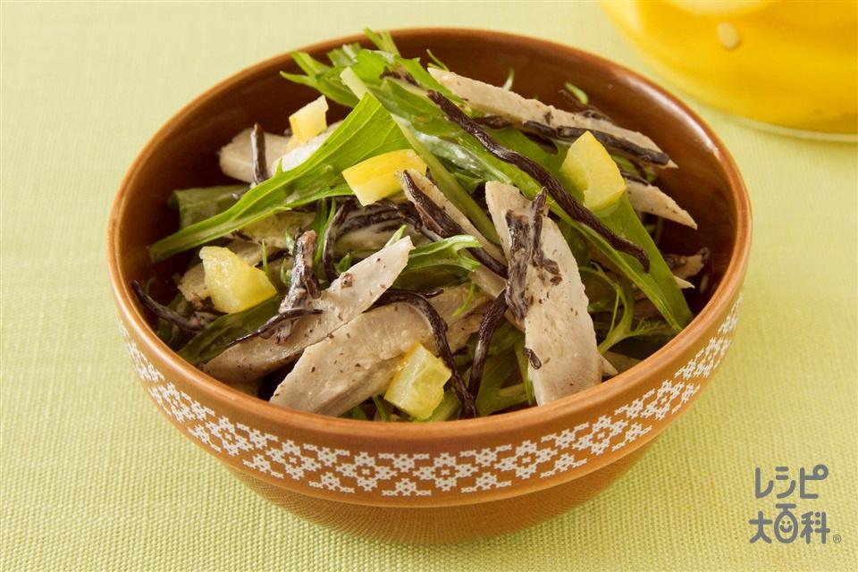 ごぼうとひじきの塩レモンわさびサラダ(ごぼう+水菜を使ったレシピ)