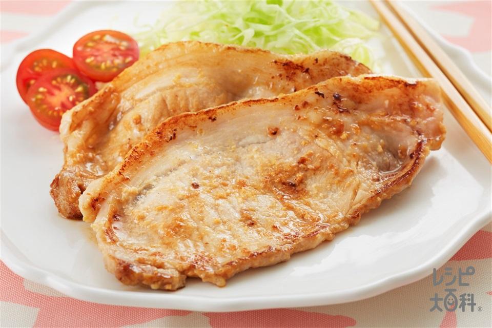味噌ヨーグルトの豚のしょうが焼き(豚しょうが焼き用肉+キャベツのせん切りを使ったレシピ)