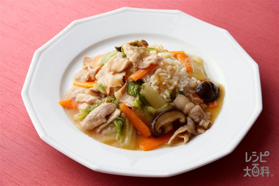 中華丼(豚バラ薄切り肉+白菜を使ったレシピ)