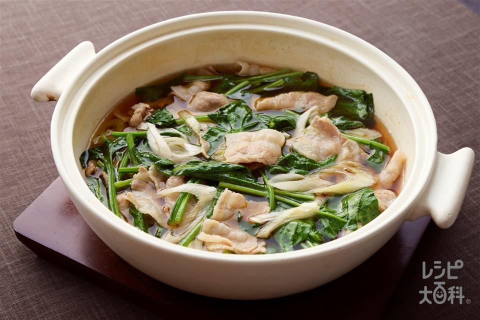豚肉とほうれん草の鍋(豚バラ薄切り肉+ほうれん草を使ったレシピ)