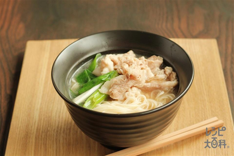 豚ばらのにゅうめん(そうめん+豚バラ薄切り肉を使ったレシピ)