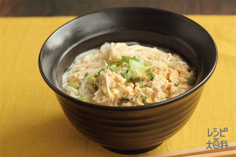 ひき肉の卵とじにゅうめん(そうめん+豚ひき肉を使ったレシピ)